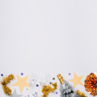 New year composition of glasses with stars
