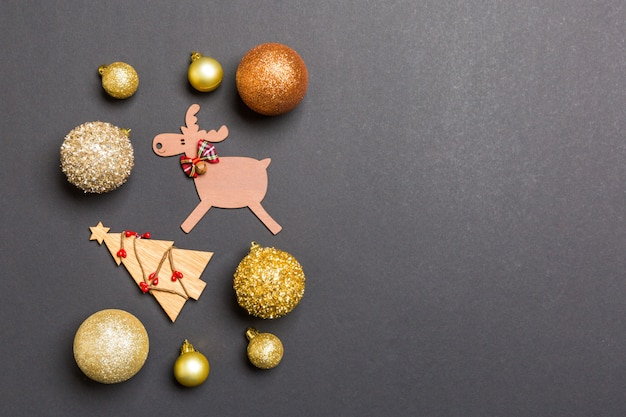 New year composition made of baubles, reindeer and other decorations
