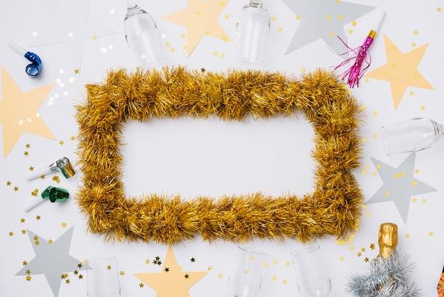 Новогодний состав рамы из мишуры Бесплатные Фотографии