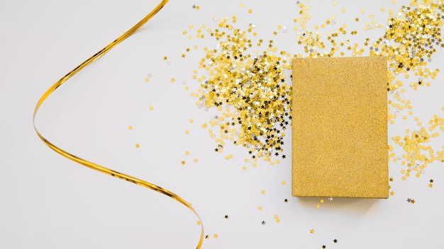 New year composition with golden book
