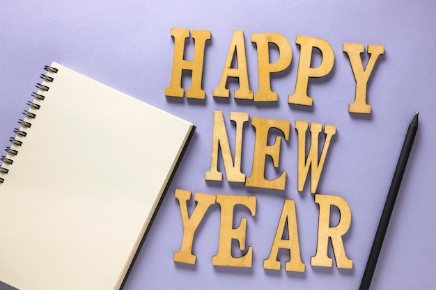New year composition with letters and notebook