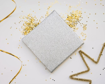 New year composition with silver present