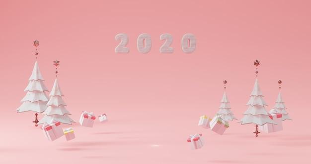 新年のコンセプト。クリスマスツリーとギフトボックスに囲まれたピンクの背景に浮かぶ年を変更するための2020年の数。