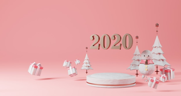 新年のコンセプト。クリスマスツリー、雪だるま、ギフトボックスに囲まれた雪の台座に浮かぶ2020年を変更するための番号。