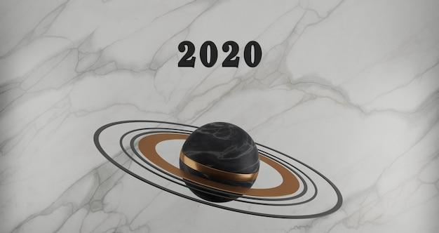新年のコンセプト。白い大理石の背景に黒い大理石の惑星に浮かぶ年を変更するための2020番号の黒。