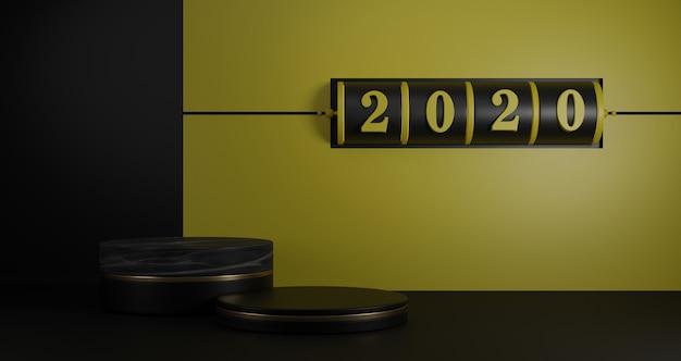 新年の概念。2020年の番号を変更するための黒のスロット背景と黄色の背景に黒の台座。