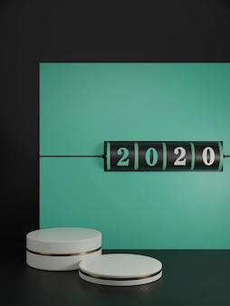 新しい年の概念。年を変更するための2020番号の黒のスロット背景と緑と溶岩の赤の背景に白い台座。