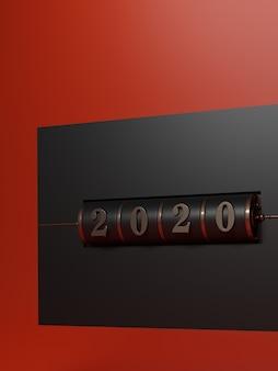 新年の概念。黒と溶岩の赤の背景に年を変更するためのゴールド2020番号の黒のスロット背景。