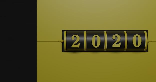 新年のコンセプト。年を変更するための2020番号の黒のスロットと黄色の背景に黒の台座。