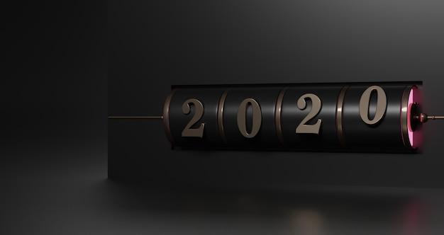 新年のコンセプト。ブラックで年を変更するためのゴールド2020番号のブラックスロット