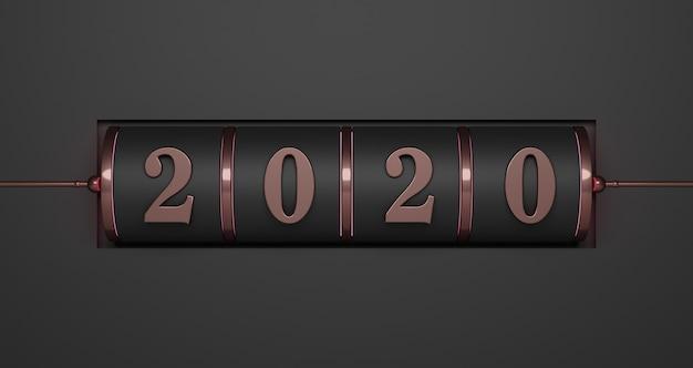 新年のコンセプト。ブラックで年を変更するためのピンクゴールド2020番号のブラックスロット