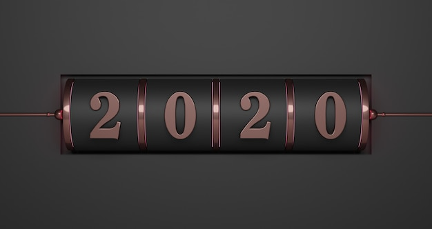 New year concept. black slot of pink gold 2020 number for changing the year on black