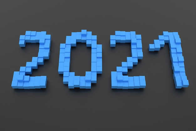 New year concept. blue number 2021 on dark background