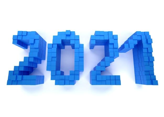 新年のコンセプト。白い背景の上の青い番号2021