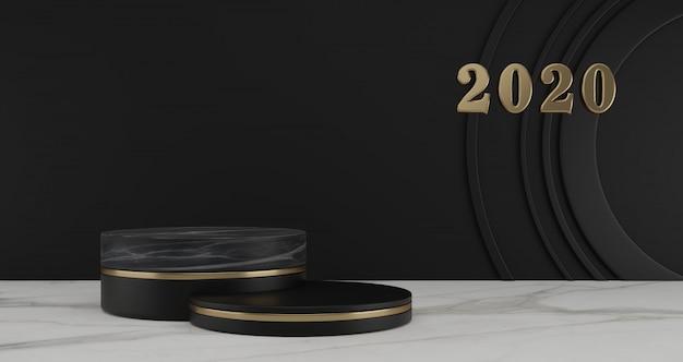新年のコンセプト。年と黒の背景に黒の台座を変更するための2020年番号の金。
