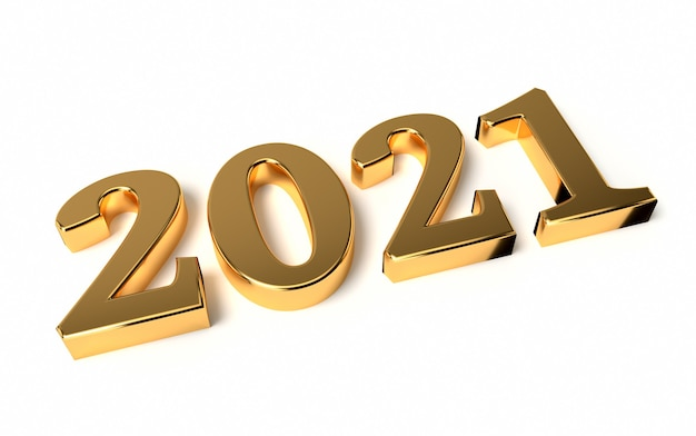 New year concept. golden number 2021 isolated