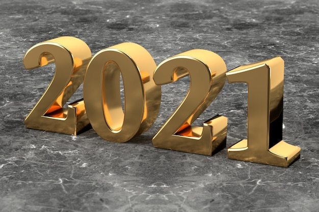 New year concept. golden number 2021 on marble background