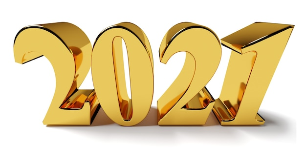 New year concept golden number isolated on white