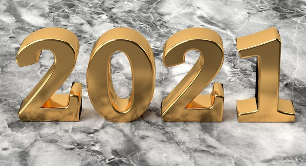 New year concept golden number  on marble background