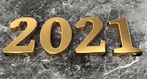 新年のコンセプト大理石のゴールデンナンバー