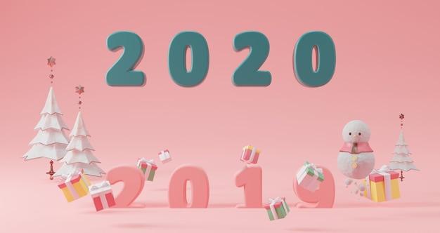 新年のコンセプト。クリスマスツリー、ギフトボックス、雪だるまに囲まれたピンクの背景に浮かぶ年を変更するための緑2020番号。