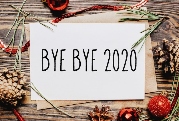New year concept notebook with text bye bye 2020