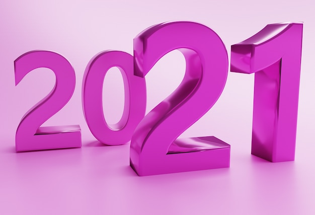 New year concept in pink colors. number 2021. 3d rendering