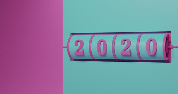 新年のコンセプト。ターコイズグリーンの背景で年を変更するための2020番号のピンクスロット背景。