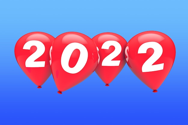 新年のコンセプト。青い空の背景に2022年のサインと赤いクリスマスの風船。 3dレンダリング