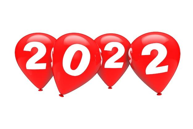 新年のコンセプト。白い背景に2022年のサインと赤いクリスマスの風船。 3dレンダリング