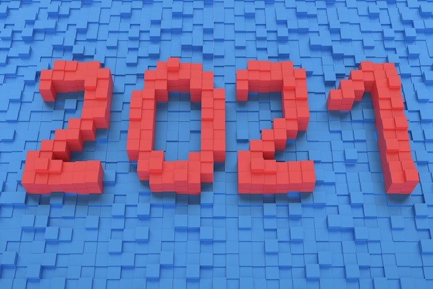 New year concept. red number 2021 on blue background