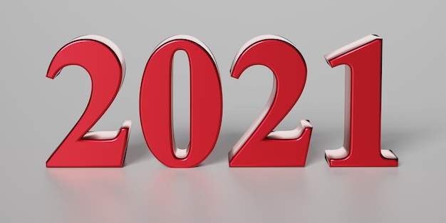 New year concept. red number 2021 on grey background. 3d rendering