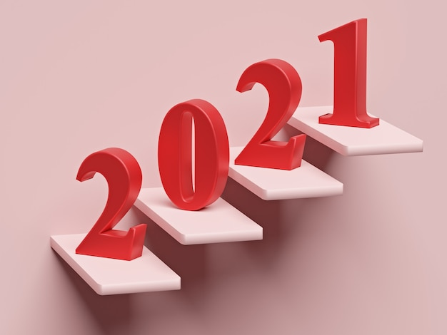New year concept. red number 2021 on steps