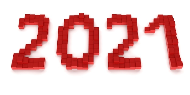 New year concept. red number 2021 on white background