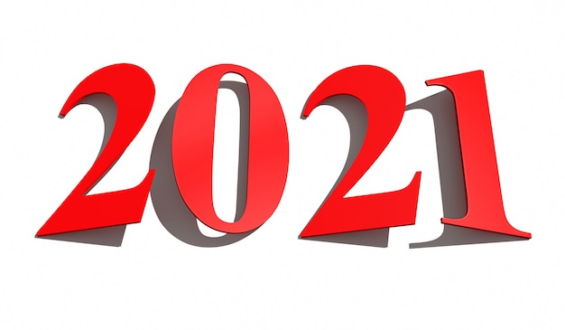 New year concept. red slanted numbers 2021 isolated on white