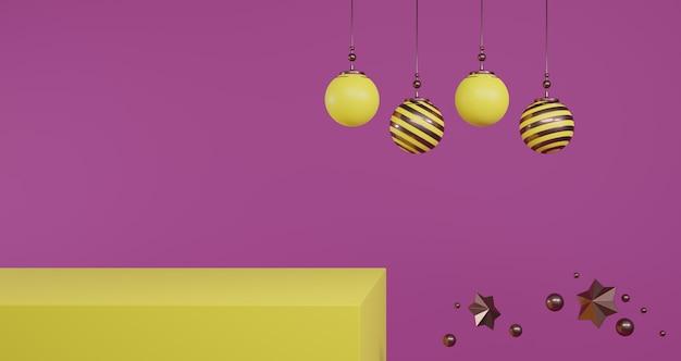 새해 개념. 보라색 배경에 빈 노란색 받침대에 떠있는 노란색과 황금 크리스마스 공의 집합입니다.