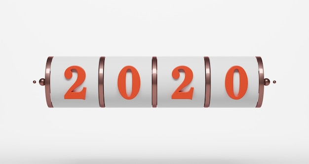 新年のコンセプト。 2020番号のスロットの背景。
