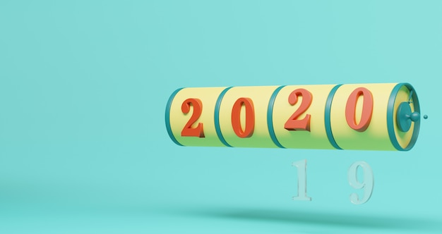 新年のコンセプト。年を変更するための2020番号のスロット。抽象的なミニマリスト