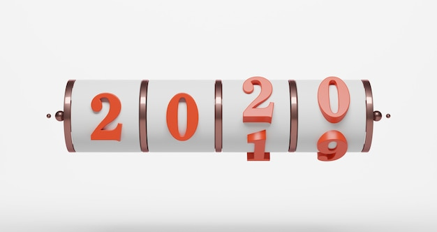 新年のコンセプト。年を変更するための2020番号のスロット。