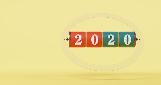 新年のコンセプト。黄色のパステル調の背景に2020年番号のスロット。