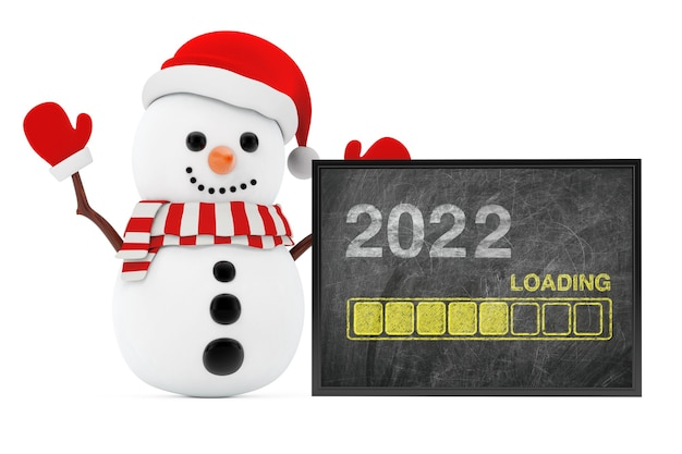 New year concept. snowman near chalkboard with progress bar showing loading of 2022 new year on a white background. 3d rendering