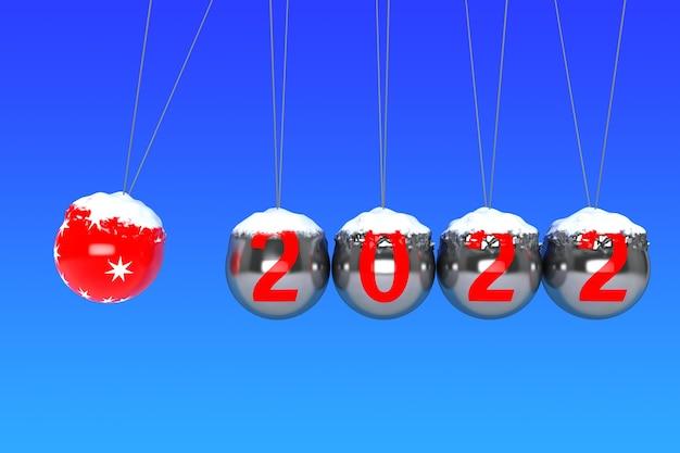 새 해 개념입니다. 파란색 배경에 2022가 있는 뉴턴의 구체. 3d 렌더링