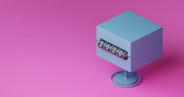 新年のコンセプト。ピンクの背景に年を変更するための2020番号の青いスロット背景の立方体。