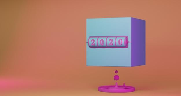 新年のコンセプト。年を変更するための2020番号のピンクのスロット背景の立方体。
