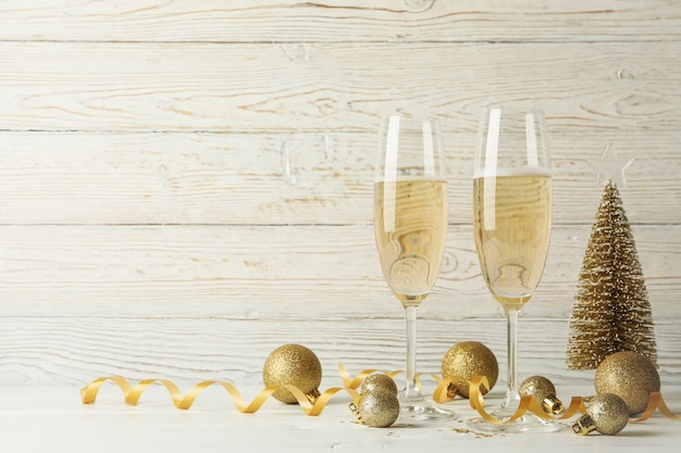 New year concept with glasses of champagne