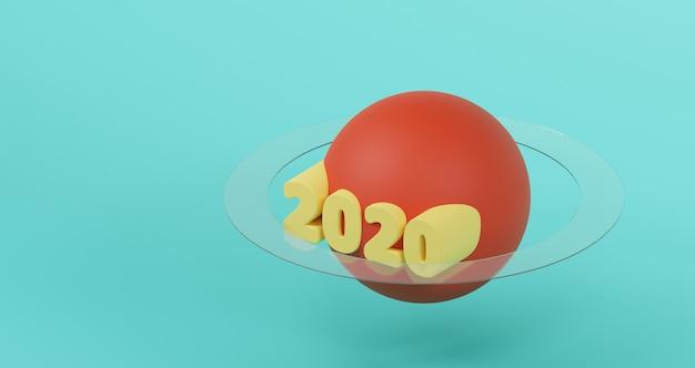 新年のコンセプト。赤い惑星とガラスリングに黄色の2020新年あけましておめでとうございます。