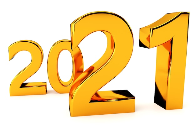 New year concept yellow numbers  isolated on white