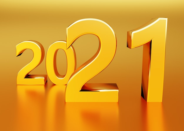 New year concept yellow numbers  with reflection