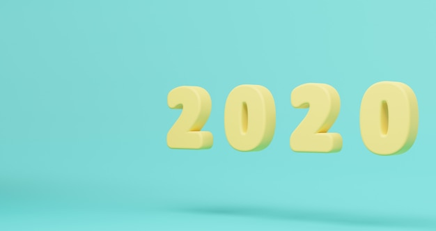 新年のコンセプト。青いパステルに浮かぶ黄色のパステル2020新年あけまして