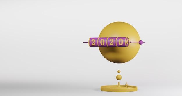 新年のコンセプト。白で隔離される年を変更するための2020番号の紫色のスロット背景の黄色の球